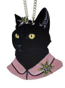 Latest Design Animal Shaped Vivid Wood Big Black Cat Head Necklace
