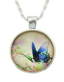 Latest Design Silver Plated Butterfly Pendant Necklace