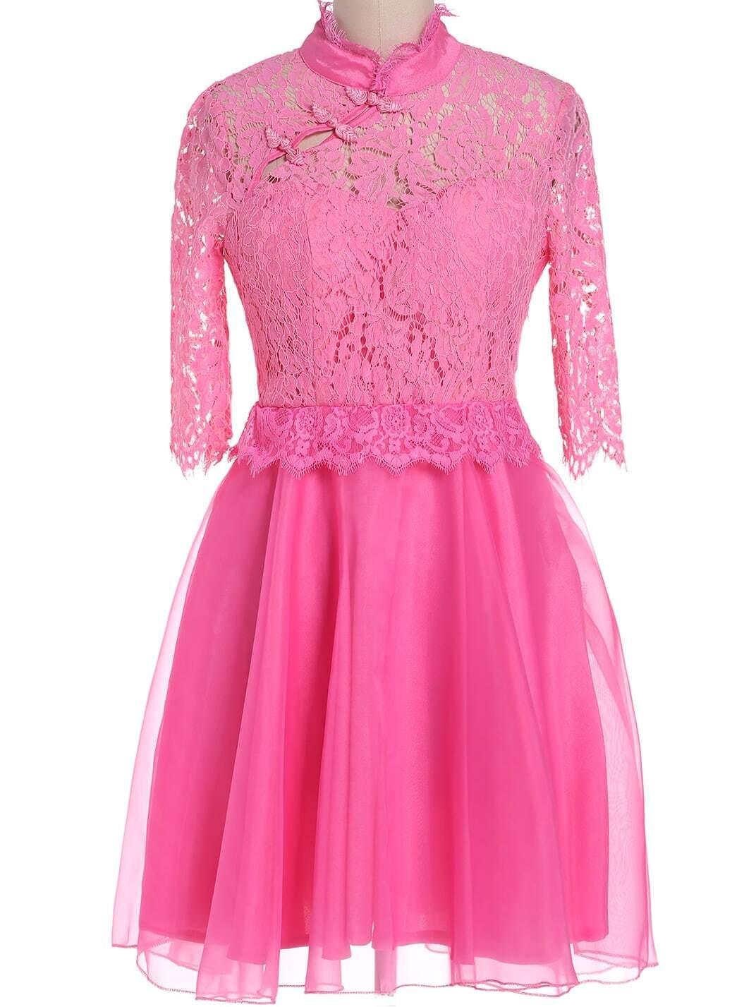 Pink Stand Collar Half Sleeve Lace Chiffon Dress
