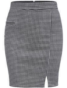 Black White Plaid Split Skirt