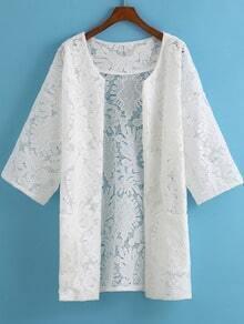 White Casual Lace Pockets Kimono
