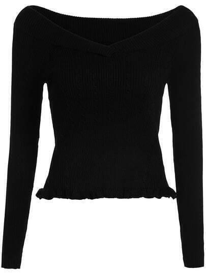 Black V Neck Slim Knit Crop Sweater