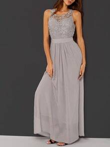 Grey Georgette Puffball Festive Holidays Festivals Convertible Sleeveless Crochet Lace Maxi Dress Night Official Sexydre