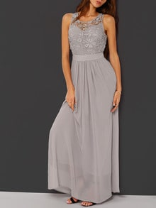 Grey Sleeveless Crochet Lace Maxi Dress