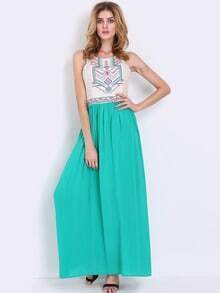 Green Sleeveless Tribal Embroidered Color Block Maxi Dress