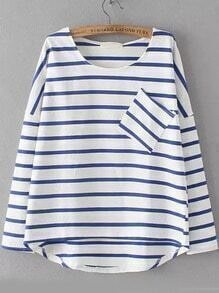 Blue White Round Neck Striped Pocket Dip Hem Blouse