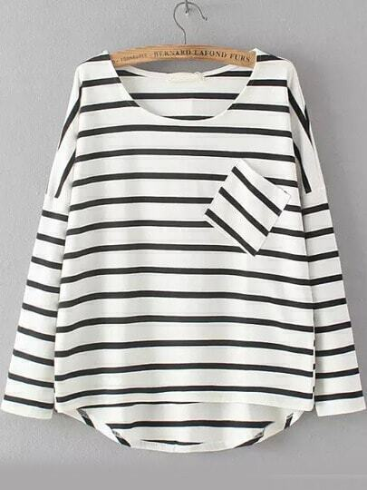 White Black Round Neck Striped Pocket Dip Hem Blouse