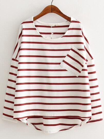 Red White Round Neck Striped Pocket Dip Hem T-shirt