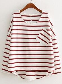 Red White Round Neck Striped Pocket Dip Hem Blouse