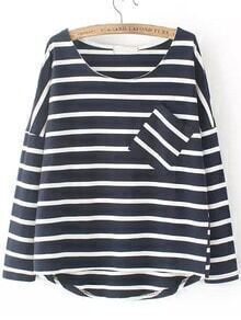 Black White Round Neck Striped Pocket Dip Hem Blouse