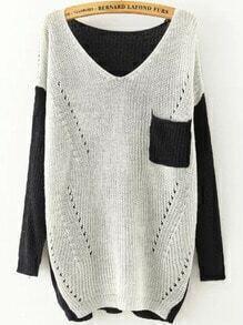 White Black V Neck Long Sleeve Pockets Knit Sweater