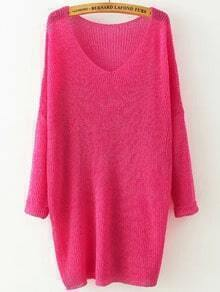Rose Red V Neck Long Sleeve Knit Loose Sweater