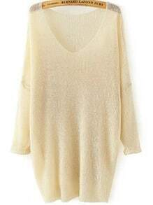 Beige V Neck Long Sleeve Knit Loose Sweater
