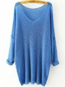 Blue V Neck Long Sleeve Knit Loose Sweater