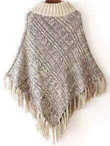 Grey High Neck Tassel Loose Knit Cape Sweater