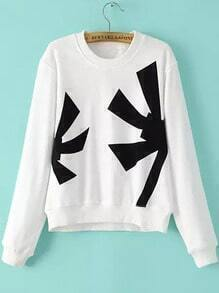 White Round Neck Flocked Crop Sweatshirt