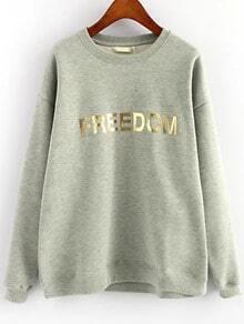 Grey Round Neck FREEDOM Print Loose Sweatshirt
