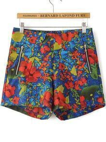 Multicolor Zipper Floral Straight Shorts