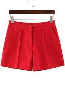 Red High Waist Straight Shorts