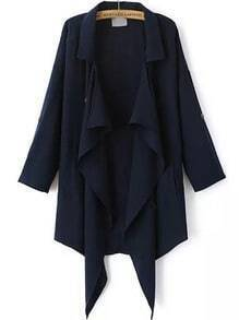 Navy Lapel Buttons Loose Trench Coat