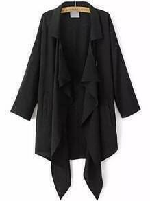 Black Lapel Buttons Loose Trench Coat