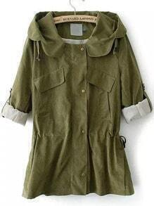 Army Green Hooded Drawstring Trench Coat