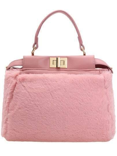 Pink Metal Buckle Faux Fur Tote Bag