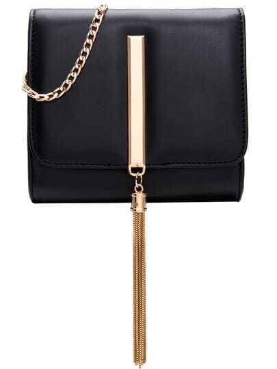 Black Chain Tassel Metal Embellished Bag