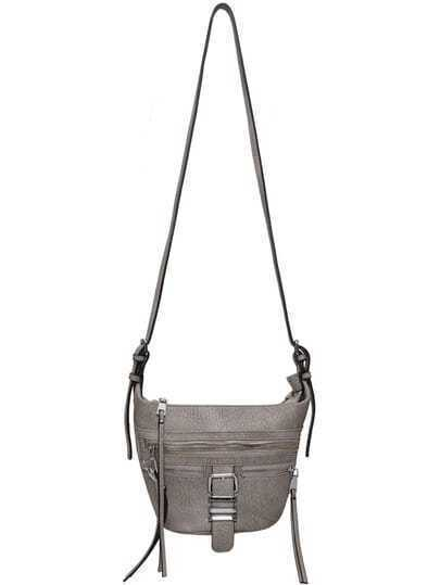 Grey Buckle Zipper PU Shoulder Bag