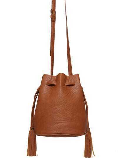 Coffee Drawstring Tassel PU Shoulder Bag