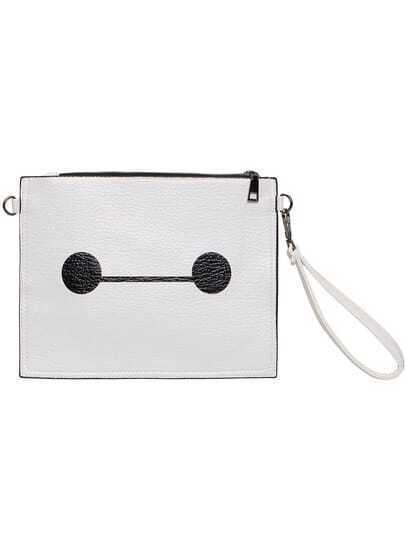 White Zipper PU Clutch Bag