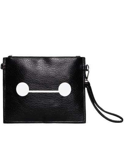 Black Zipper PU Clutch Bag