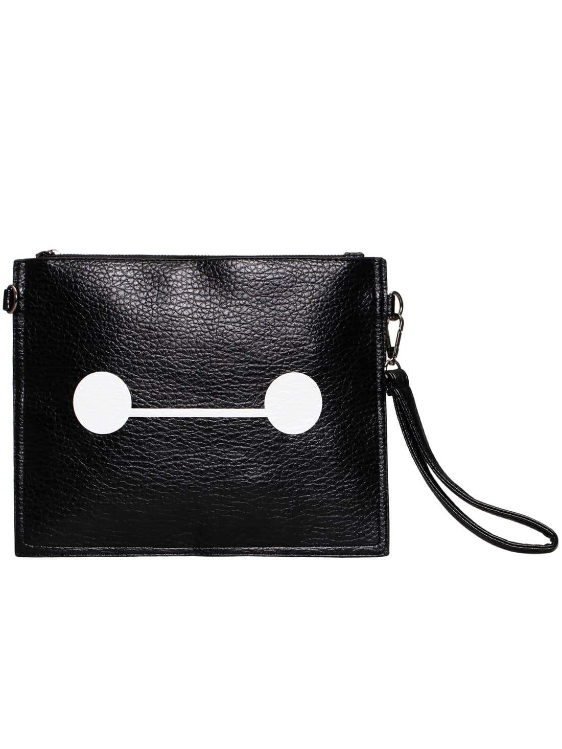 Black Zipper PU Clutch Bag