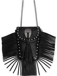Black Bead Tassel PU Shoulder Bag