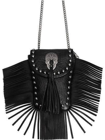 Black Bead Tassel PU Shoulder Bag