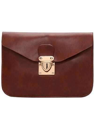 Coffee Metal Buckle PU Shoulder Bag