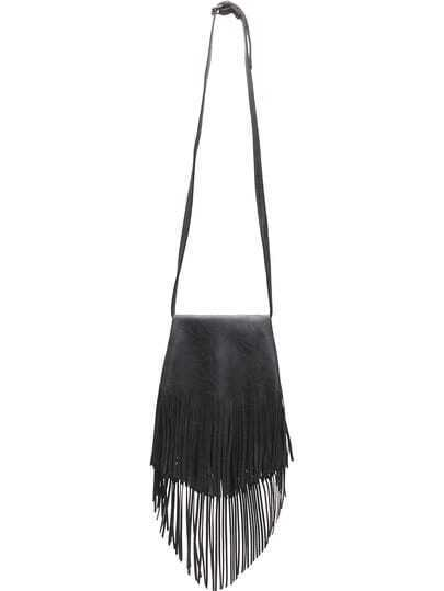 Dark Grey Tassel PU Shoulder Bag