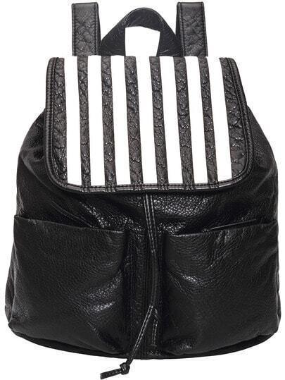 Black White Drawstring PU Backpack