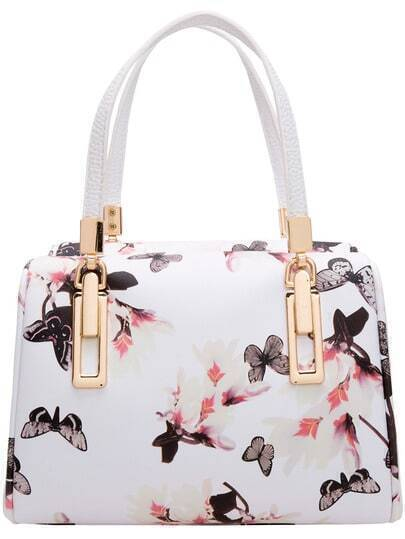 Black White Butterfly Print PU Bag