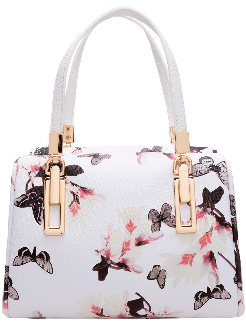 Black White Butterfly Print PU Bag