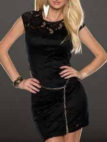 Black Lace With Belt Bodycon Dress