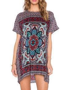 Multicolor Vintage Print Shift Dress