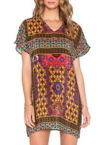 Multicolor V Neck Vintage Print Shift Dress