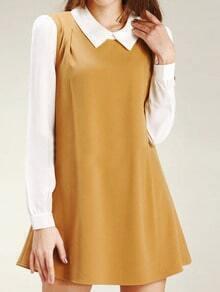 Yellow Doll Collar Chiffon Shift Dress