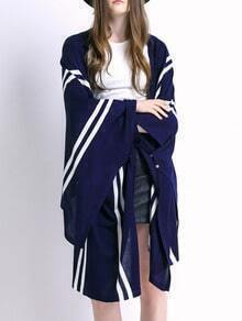 Navy Dip Hem Striped Knit Cardigan