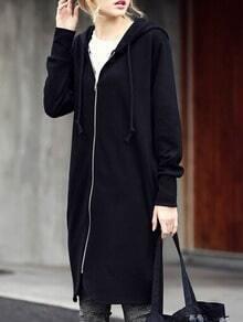 Black Hooded With Zipper Sweatshirt
