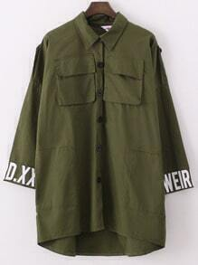 Army Green Lapel Dip Hem With Pockets Letter Print Coat