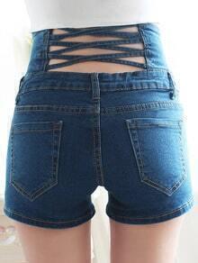 Blue High Waist Hollow Denim Shorts