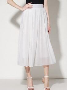 White Elastic Waist Chiffon Pleated Skirt
