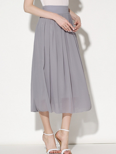 Elastic Waist Chiffon Pleated Skirt
